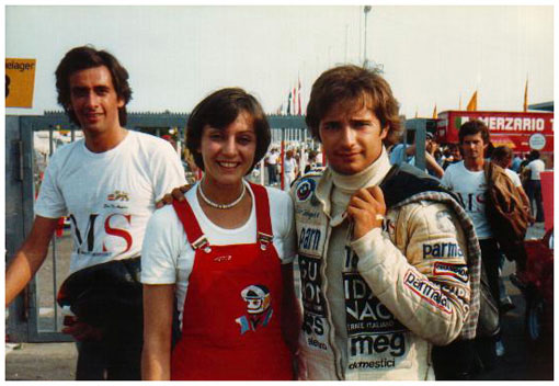 Photograph of Elio de Angelis posing with Marie-Jeanne