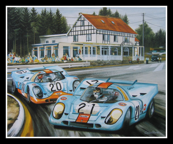 Watercolour Painting Of Two Gulf Porsches 917 Rodriguez And Siffert During The 1971 1000 Km